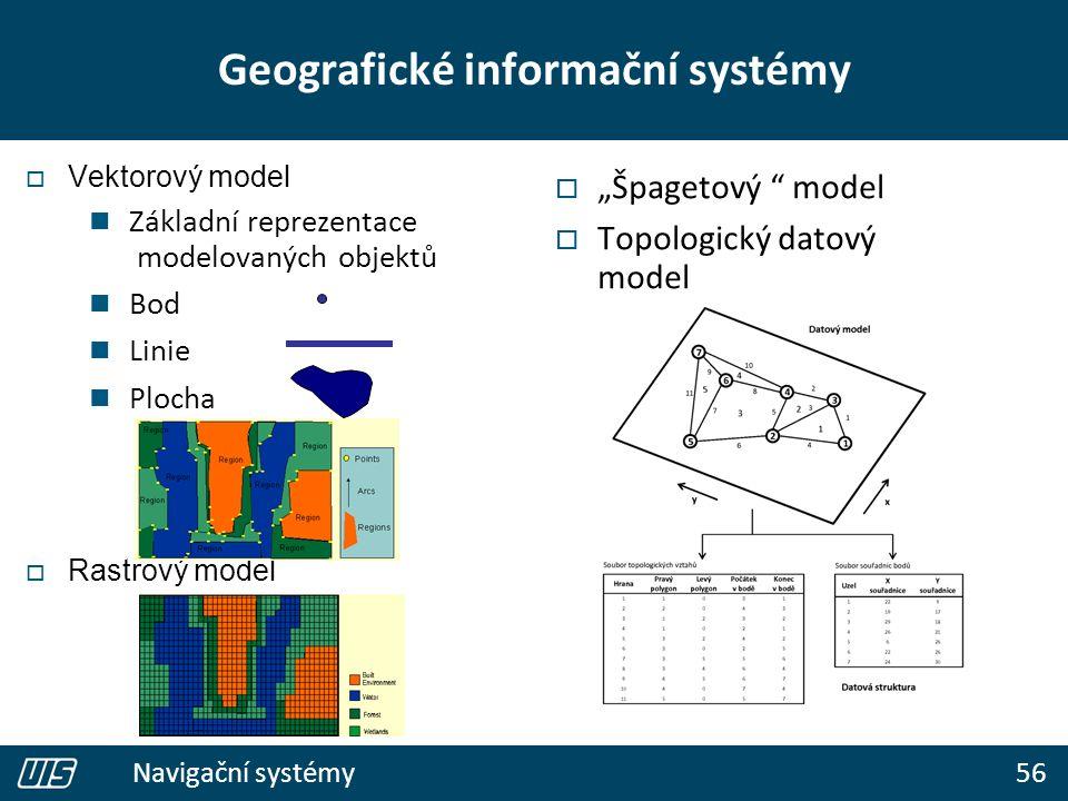 """56 Navigační systémy Geografické informační systémy  Vektorový model Základní reprezentace modelovaných objektů Bod Linie Plocha  Rastrový model  """""""