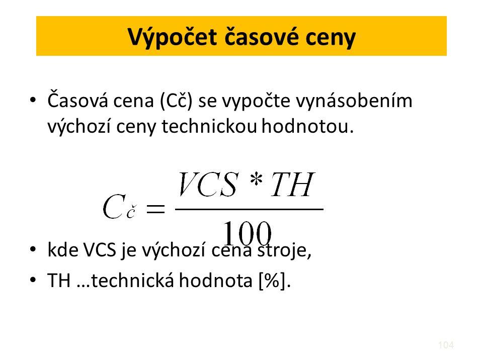 104 Výpočet časové ceny Časová cena (Cč) se vypočte vynásobením výchozí ceny technickou hodnotou. kde VCS je výchozí cena stroje, TH …technická hodnot