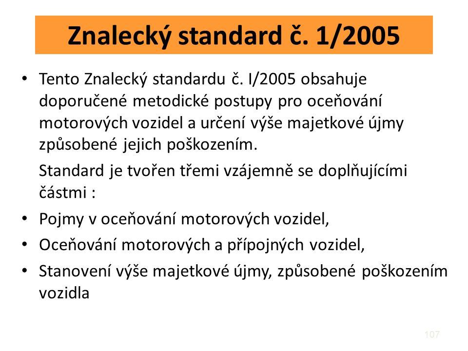 Znalecký standard č. 1/2005 Tento Znalecký standardu č. I/2005 obsahuje doporučené metodické postupy pro oceňování motorových vozidel a určení výše ma