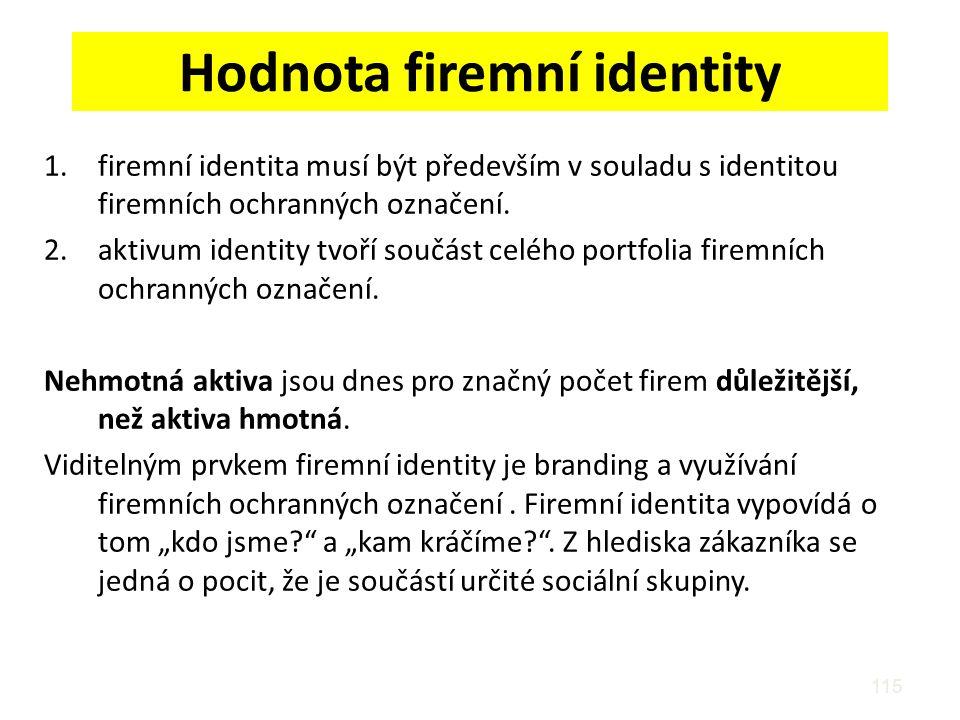 Hodnota firemní identity 1.firemní identita musí být především v souladu s identitou firemních ochranných označení. 2.aktivum identity tvoří součást c