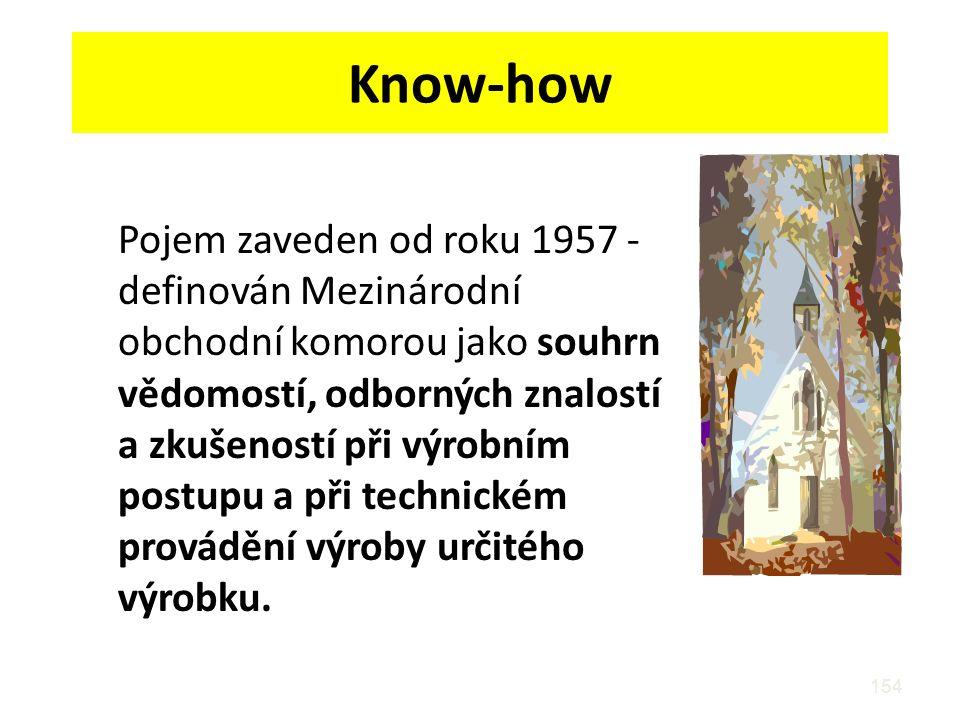 154 Know-how Pojem zaveden od roku 1957 - definován Mezinárodní obchodní komorou jako souhrn vědomostí, odborných znalostí a zkušeností při výrobním postupu a při technickém provádění výroby určitého výrobku.