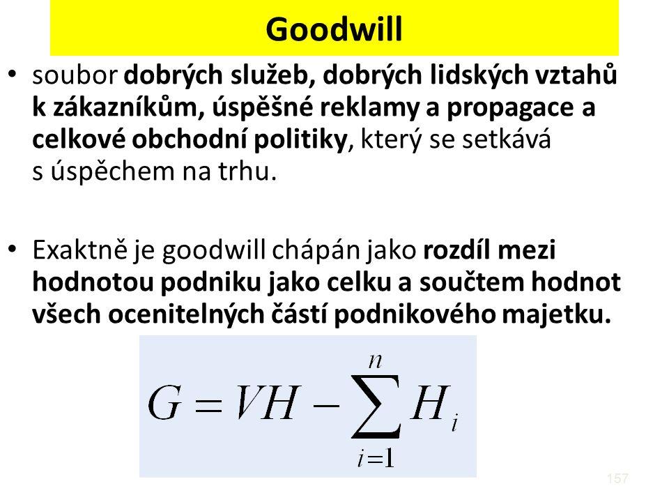 157 Goodwill soubor dobrých služeb, dobrých lidských vztahů k zákazníkům, úspěšné reklamy a propagace a celkové obchodní politiky, který se setkává s úspěchem na trhu.