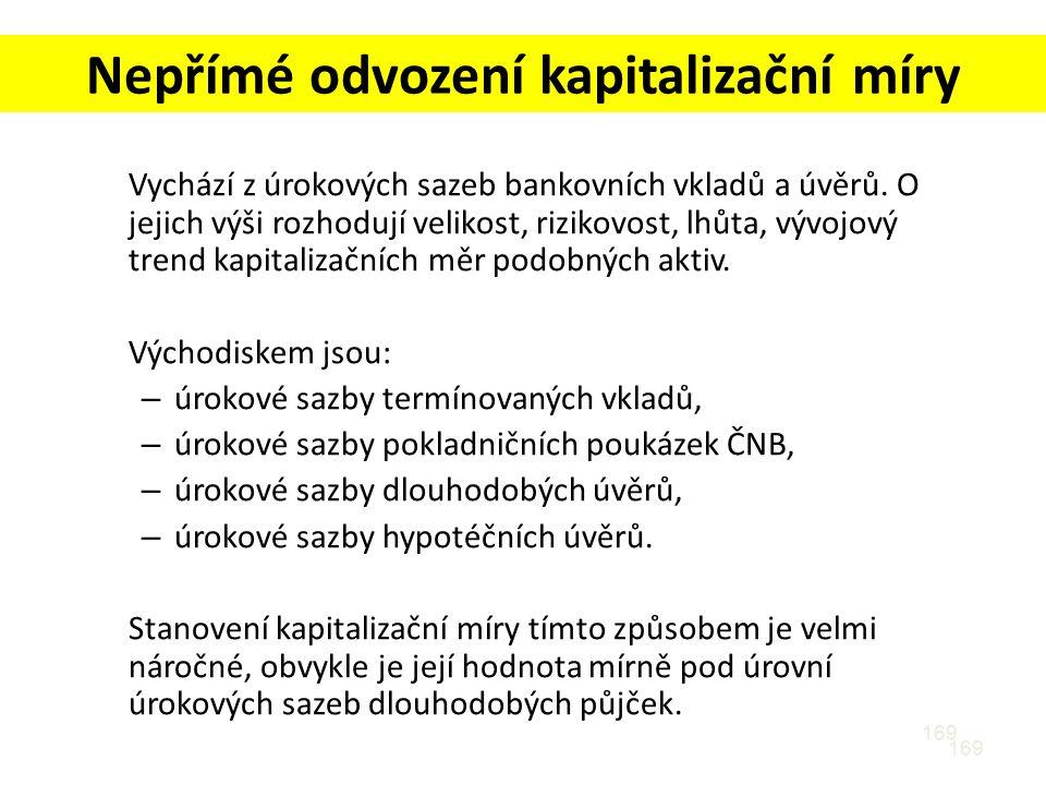 169 Nepřímé odvození kapitalizační míry Vychází z úrokových sazeb bankovních vkladů a úvěrů.