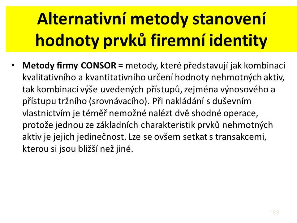 Alternativní metody stanovení hodnoty prvků firemní identity Metody firmy CONSOR = metody, které představují jak kombinaci kvalitativního a kvantitati