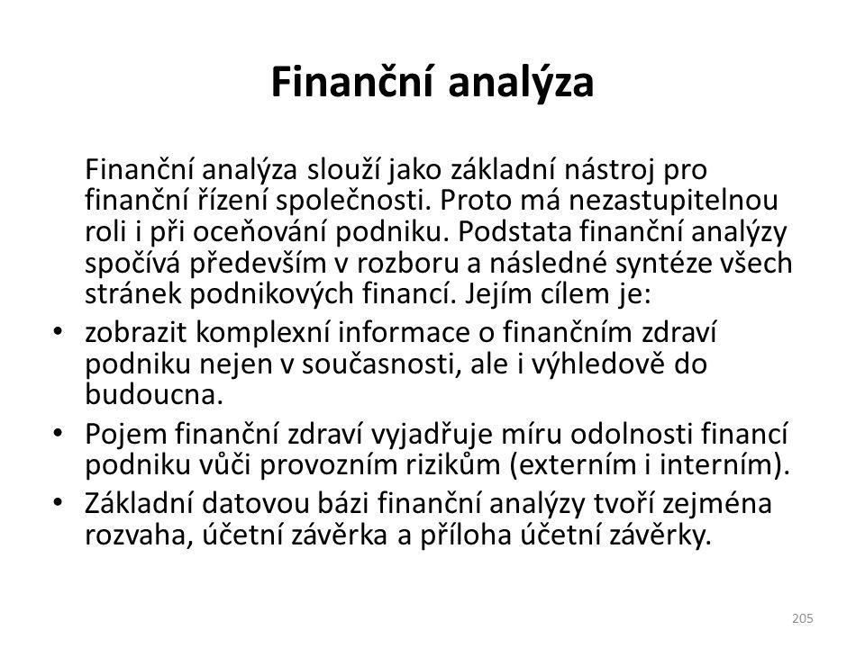 Finanční analýza Finanční analýza slouží jako základní nástroj pro finanční řízení společnosti. Proto má nezastupitelnou roli i při oceňování podniku.