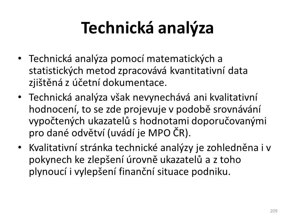 Technická analýza Technická analýza pomocí matematických a statistických metod zpracovává kvantitativní data zjištěná z účetní dokumentace. Technická