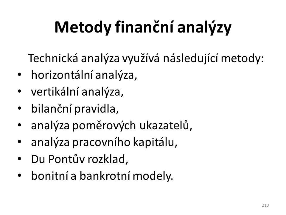 Metody finanční analýzy Technická analýza využívá následující metody: horizontální analýza, vertikální analýza, bilanční pravidla, analýza poměrových ukazatelů, analýza pracovního kapitálu, Du Pontův rozklad, bonitní a bankrotní modely.
