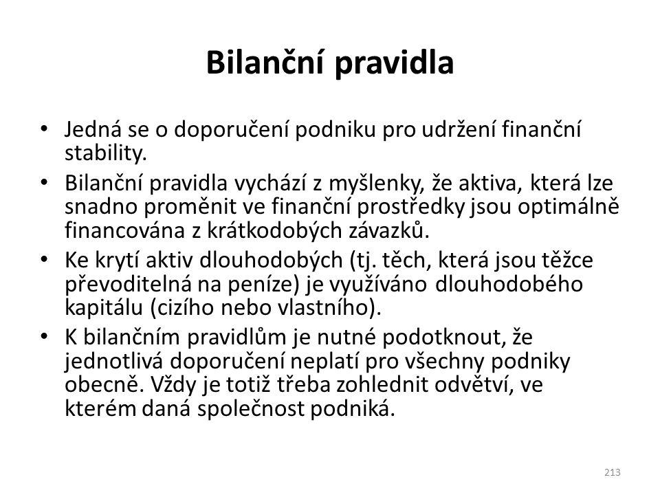Bilanční pravidla Jedná se o doporučení podniku pro udržení finanční stability. Bilanční pravidla vychází z myšlenky, že aktiva, která lze snadno prom