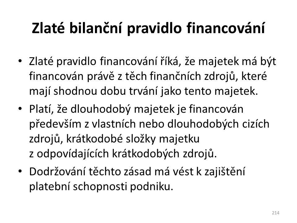 Zlaté bilanční pravidlo financování Zlaté pravidlo financování říká, že majetek má být financován právě z těch finančních zdrojů, které mají shodnou d
