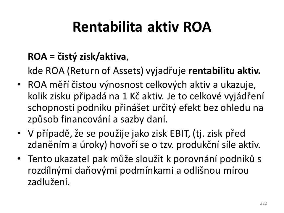 Rentabilita aktiv ROA ROA = čistý zisk/aktiva, kde ROA (Return of Assets) vyjadřuje rentabilitu aktiv. ROA měří čistou výnosnost celkových aktiv a uka