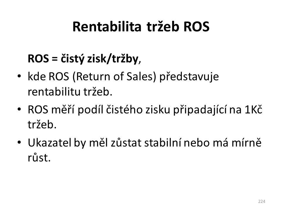 Rentabilita tržeb ROS ROS = čistý zisk/tržby, kde ROS (Return of Sales) představuje rentabilitu tržeb. ROS měří podíl čistého zisku připadající na 1Kč