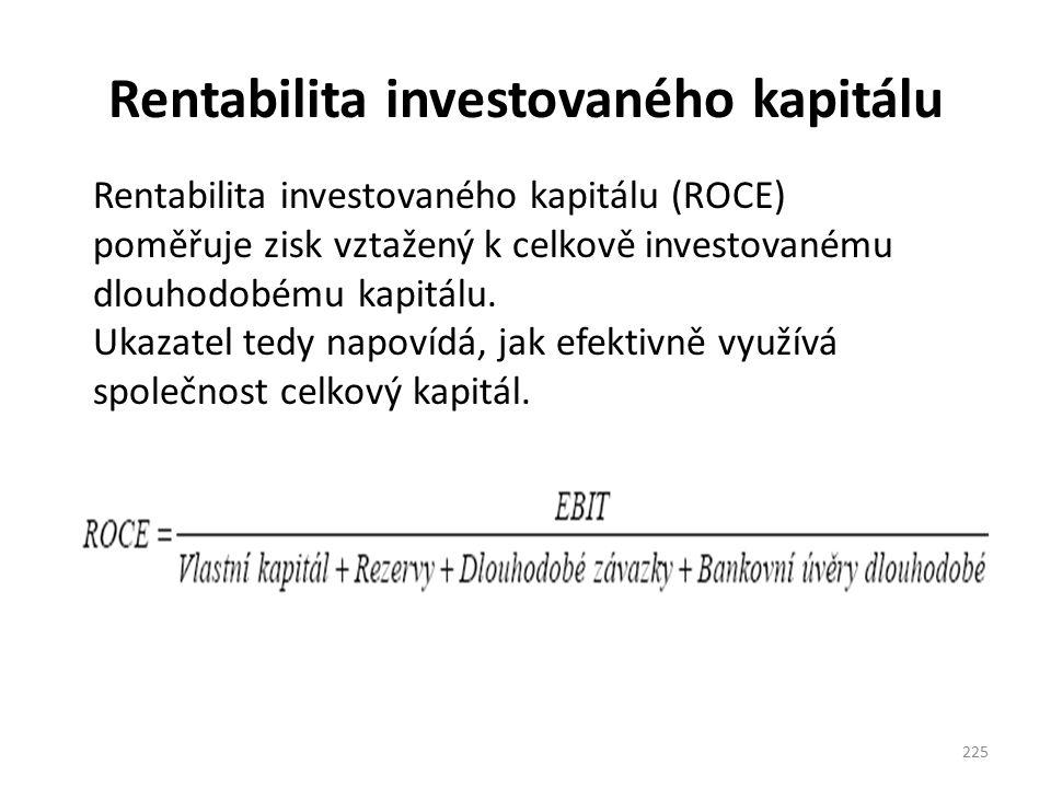 Rentabilita investovaného kapitálu 225 Rentabilita investovaného kapitálu (ROCE) poměřuje zisk vztažený k celkově investovanému dlouhodobému kapitálu.