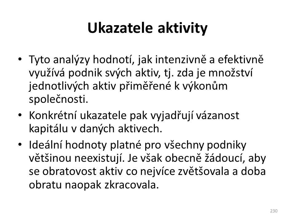 Ukazatele aktivity Tyto analýzy hodnotí, jak intenzivně a efektivně využívá podnik svých aktiv, tj.