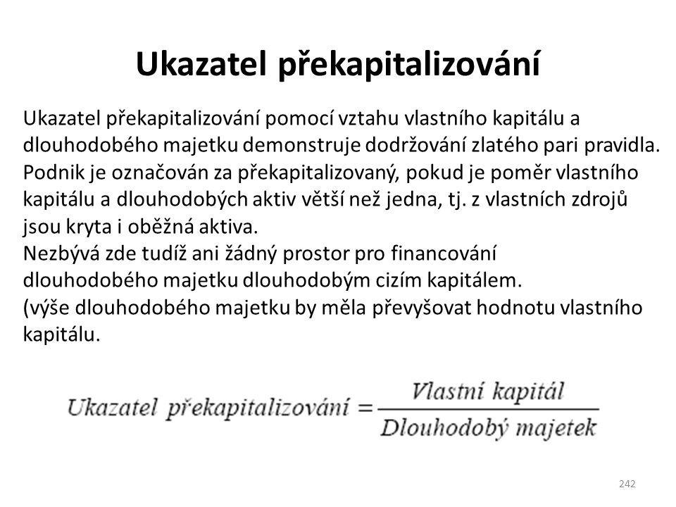 Ukazatel překapitalizování 242 Ukazatel překapitalizování pomocí vztahu vlastního kapitálu a dlouhodobého majetku demonstruje dodržování zlatého pari pravidla.
