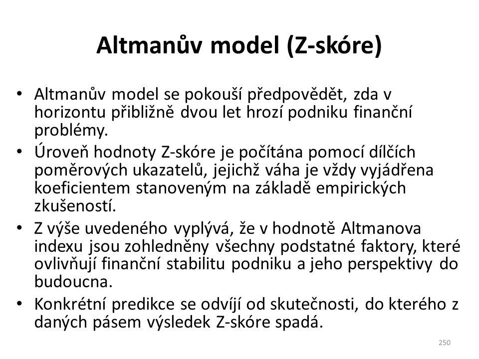 Altmanův model (Z-skóre) Altmanův model se pokouší předpovědět, zda v horizontu přibližně dvou let hrozí podniku finanční problémy. Úroveň hodnoty Z-s
