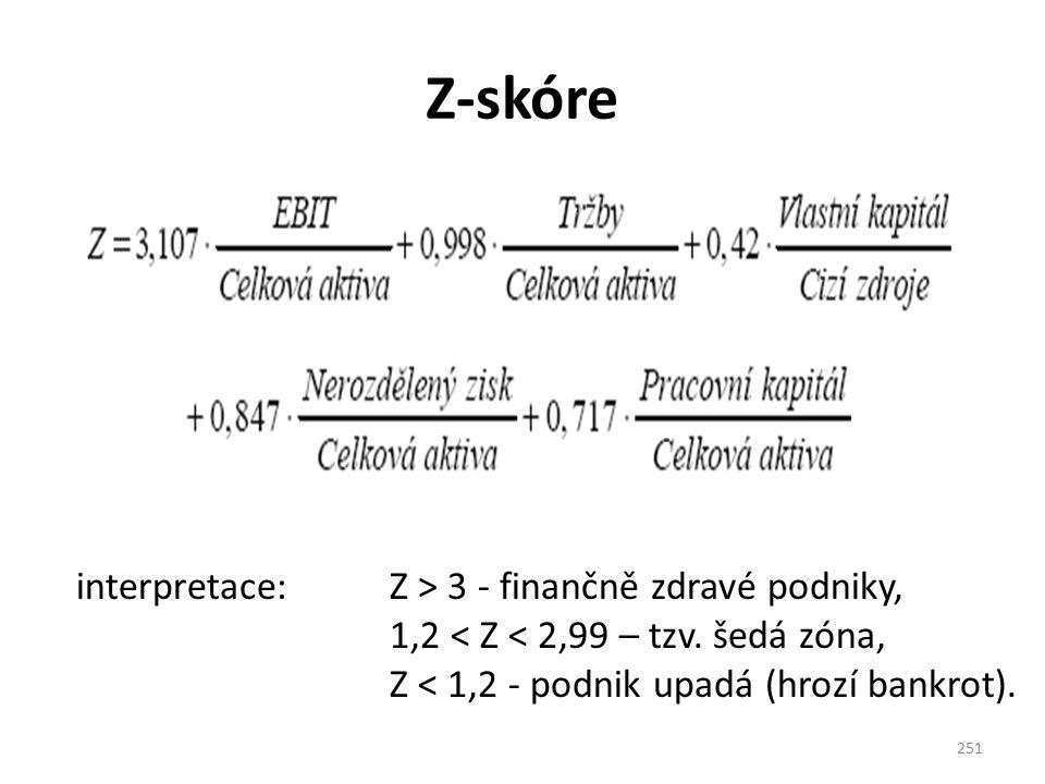 Z-skóre 251 interpretace: Z > 3 - finančně zdravé podniky, 1,2 < Z < 2,99 – tzv. šedá zóna, Z < 1,2 - podnik upadá (hrozí bankrot).