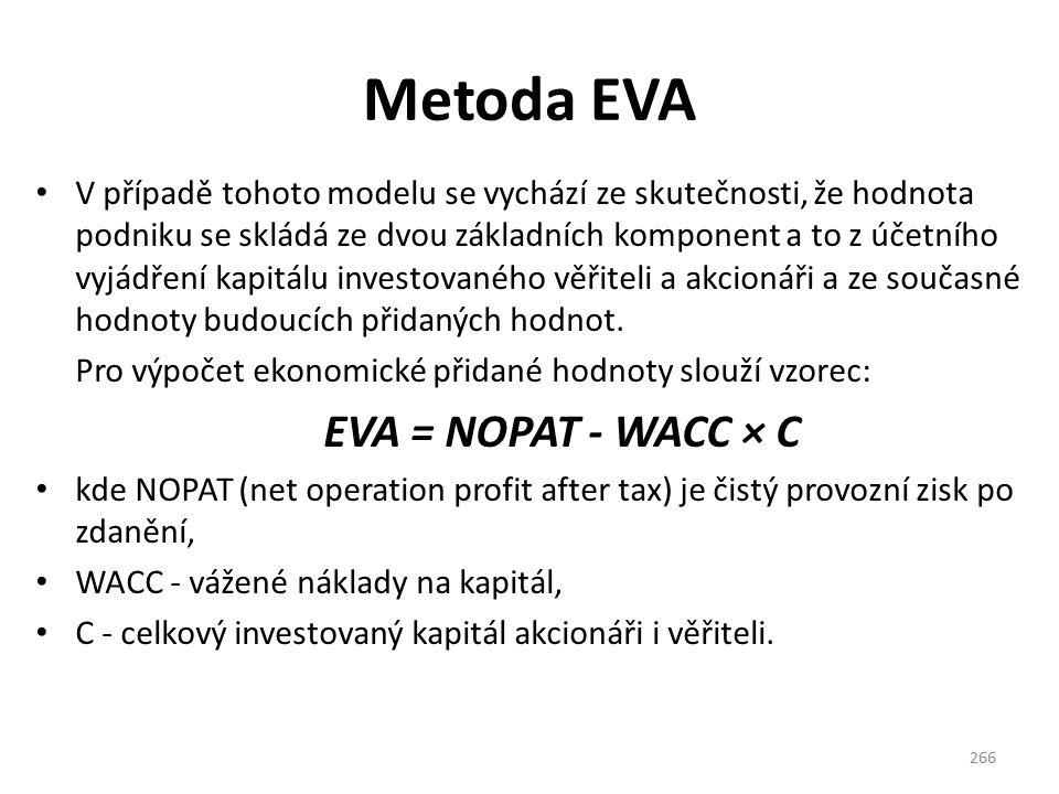 Metoda EVA V případě tohoto modelu se vychází ze skutečnosti, že hodnota podniku se skládá ze dvou základních komponent a to z účetního vyjádření kapitálu investovaného věřiteli a akcionáři a ze současné hodnoty budoucích přidaných hodnot.