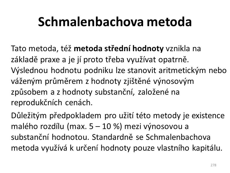 Schmalenbachova metoda Tato metoda, též metoda střední hodnoty vznikla na základě praxe a je jí proto třeba využívat opatrně. Výslednou hodnotu podnik