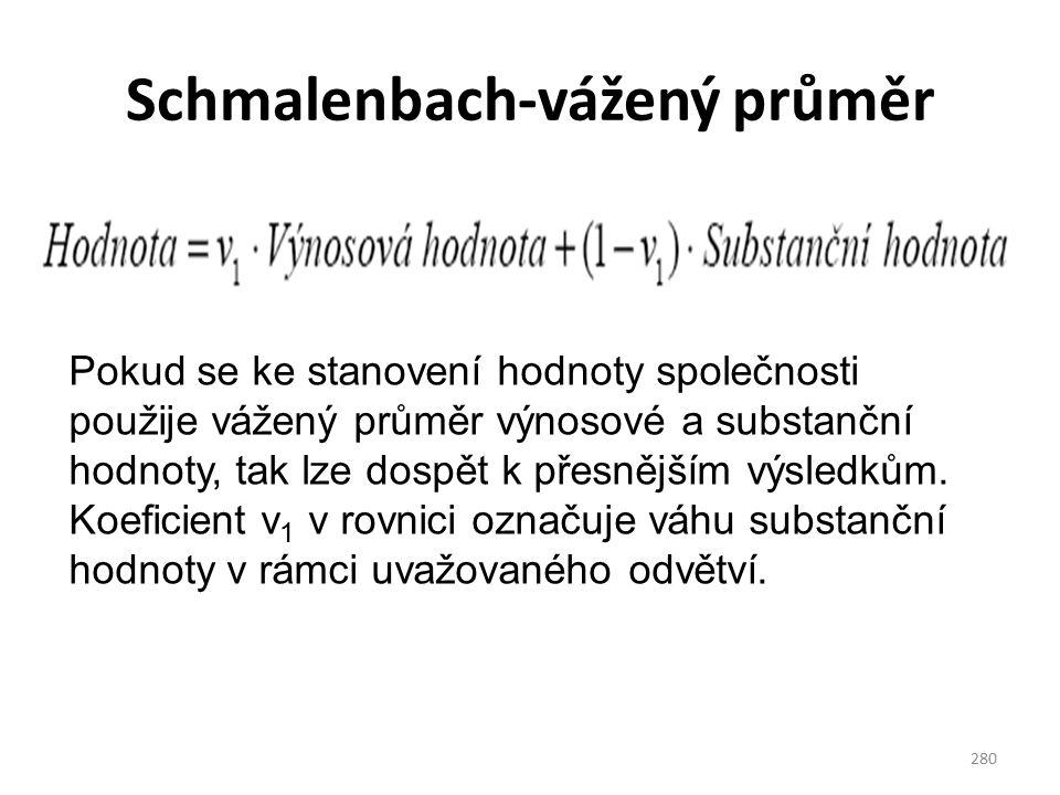 Schmalenbach-vážený průměr 280 Pokud se ke stanovení hodnoty společnosti použije vážený průměr výnosové a substanční hodnoty, tak lze dospět k přesnějším výsledkům.