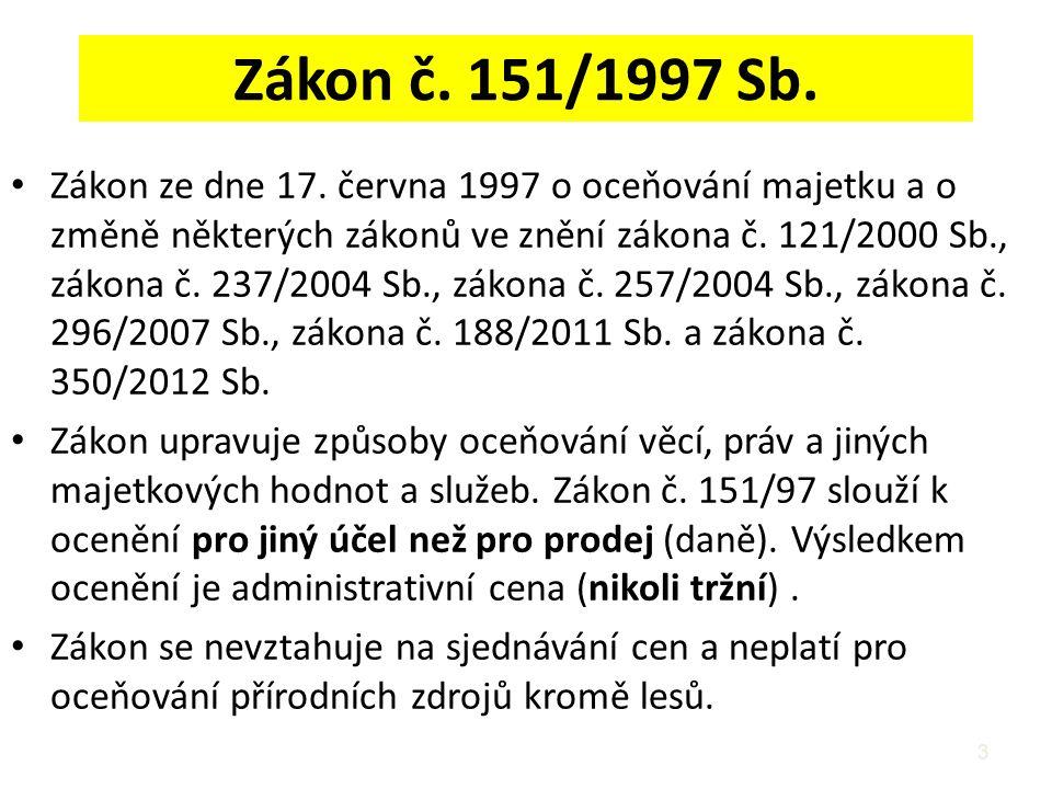 Zákon č. 151/1997 Sb. Zákon ze dne 17. června 1997 o oceňování majetku a o změně některých zákonů ve znění zákona č. 121/2000 Sb., zákona č. 237/2004