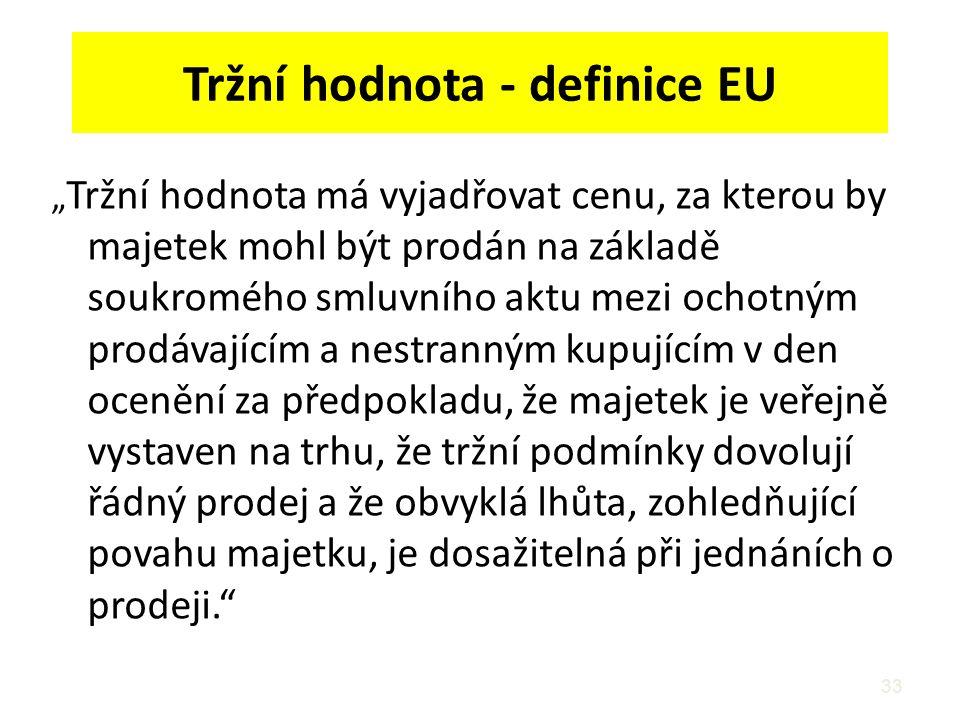 """33 Tržní hodnota - definice EU """" Tržní hodnota má vyjadřovat cenu, za kterou by majetek mohl být prodán na základě soukromého smluvního aktu mezi ocho"""