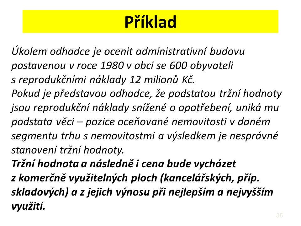 Příklad 35 Úkolem odhadce je ocenit administrativní budovu postavenou v roce 1980 v obci se 600 obyvateli s reprodukčními náklady 12 milionů Kč. Pokud