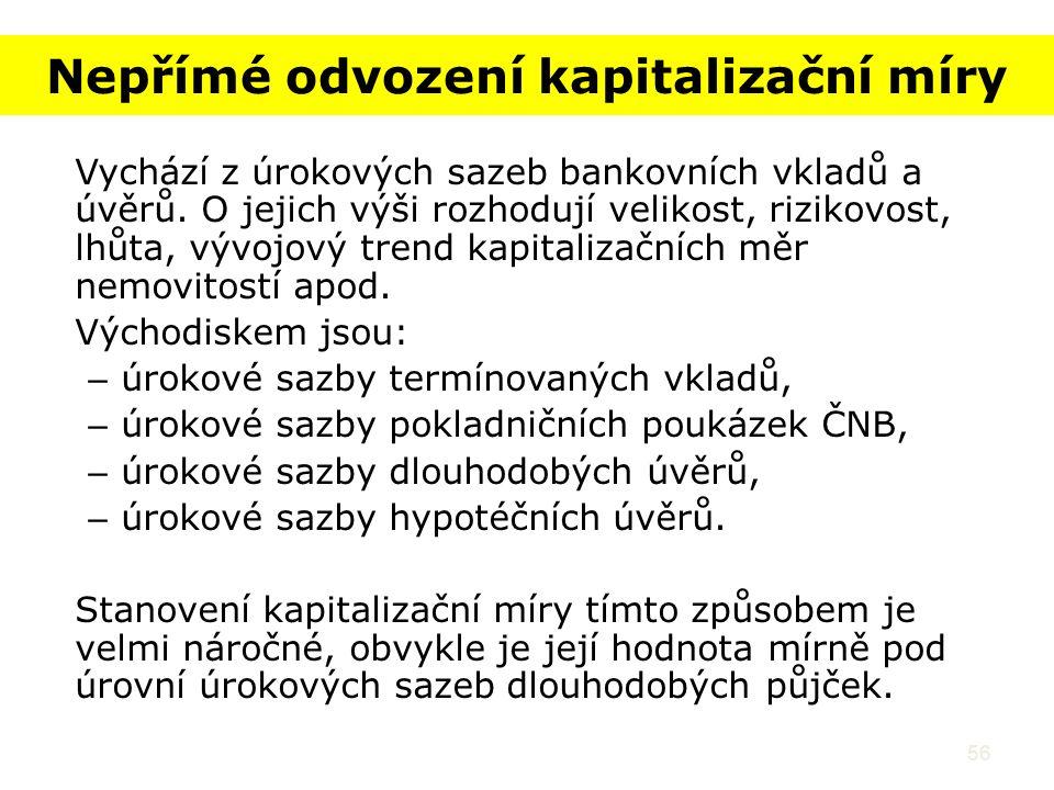 56 Nepřímé odvození kapitalizační míry Vychází z úrokových sazeb bankovních vkladů a úvěrů.