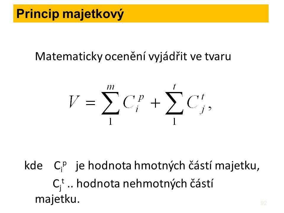 92 Matematicky ocenění vyjádřit ve tvaru kde C i p je hodnota hmotných částí majetku, C j t.. hodnota nehmotných částí majetku. Princip majetkový