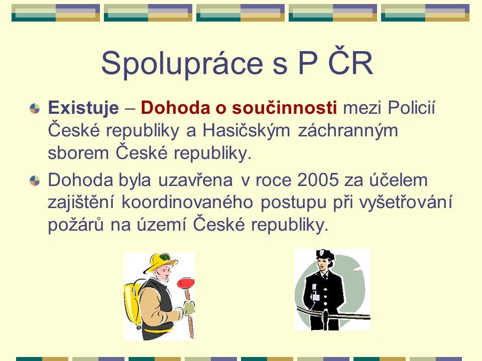 Spolupráce s P ČR Existuje – Dohoda o součinnosti mezi Policií České republiky a Hasičským záchranným sborem České republiky.