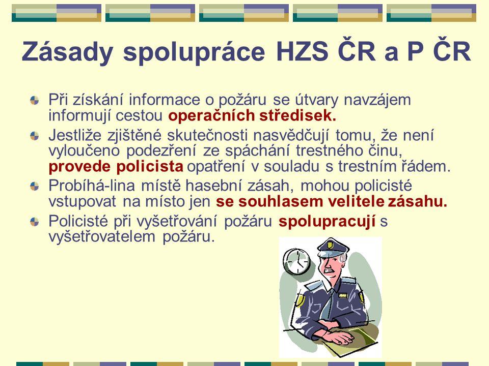 Zásady spolupráce HZS ČR a P ČR Při získání informace o požáru se útvary navzájem informují cestou operačních středisek.