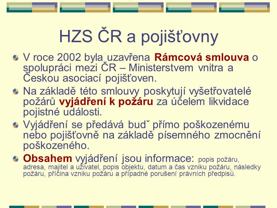 HZS ČR a pojišťovny V roce 2002 byla uzavřena Rámcová smlouva o spolupráci mezi ČR – Ministerstvem vnitra a Českou asociací pojišťoven.