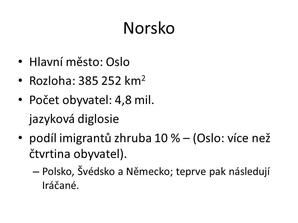 Norsko Hlavní město: Oslo Rozloha: 385 252 km 2 Počet obyvatel: 4,8 mil.