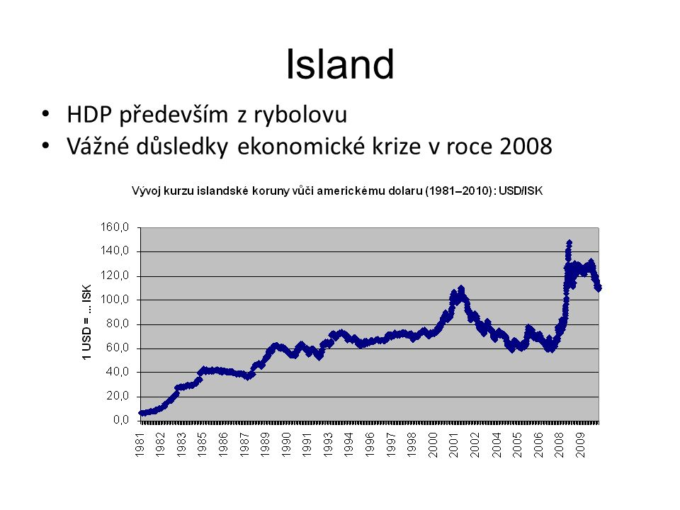 Island HDP především z rybolovu Vážné důsledky ekonomické krize v roce 2008
