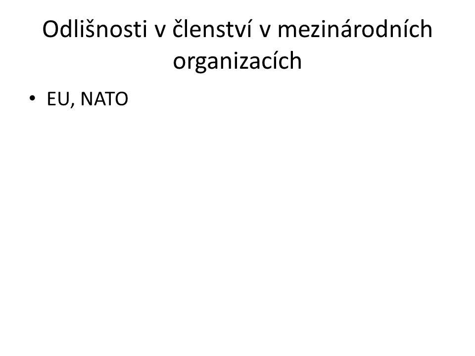 Odlišnosti v členství v mezinárodních organizacích EU, NATO