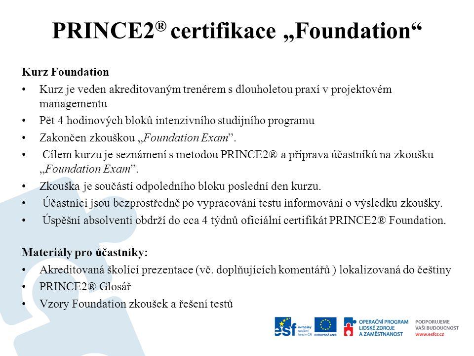 """Kurz Foundation Kurz je veden akreditovaným trenérem s dlouholetou praxí v projektovém managementu Pět 4 hodinových bloků intenzivního studijního programu Zakončen zkouškou """"Foundation Exam ."""