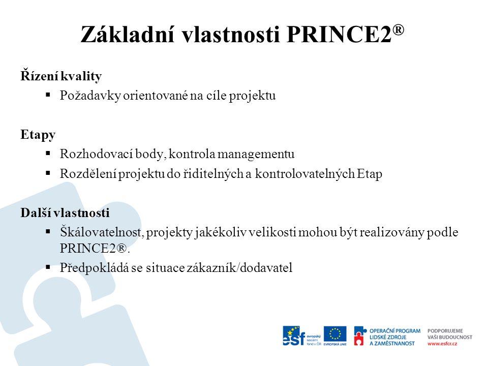 Základní terminologie PRINCE2 ® Obchodní Případ Produkt  Manažerské Produkty  Odborné Produkty Zákazník Dodavatel Uživatel Program Výjimka Etapa