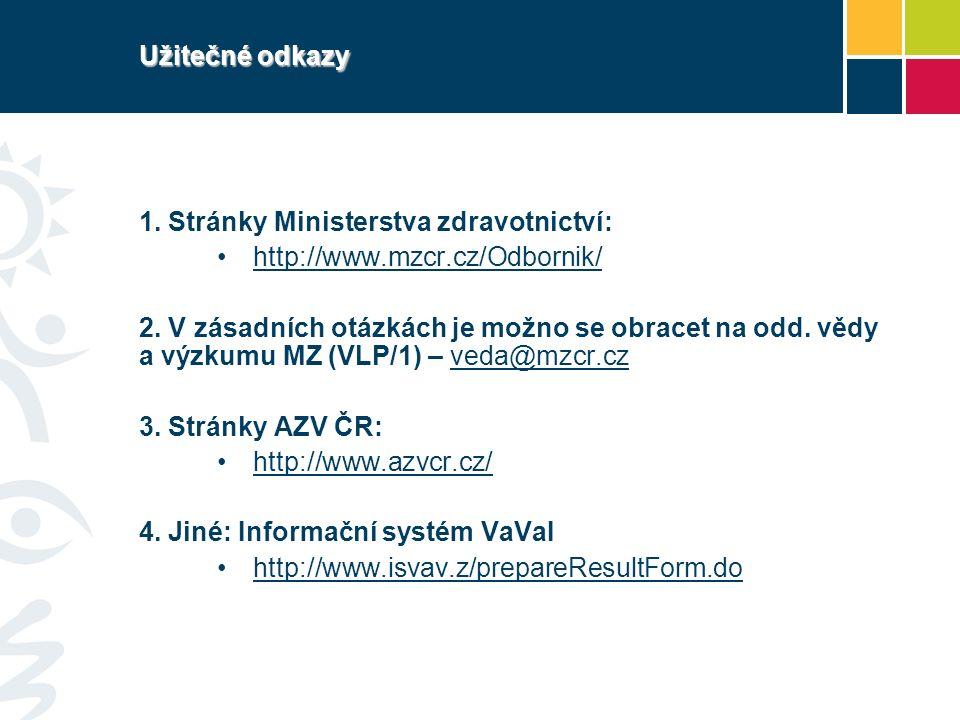 Užitečné odkazy 1. Stránky Ministerstva zdravotnictví: http://www.mzcr.cz/Odbornik/ 2.