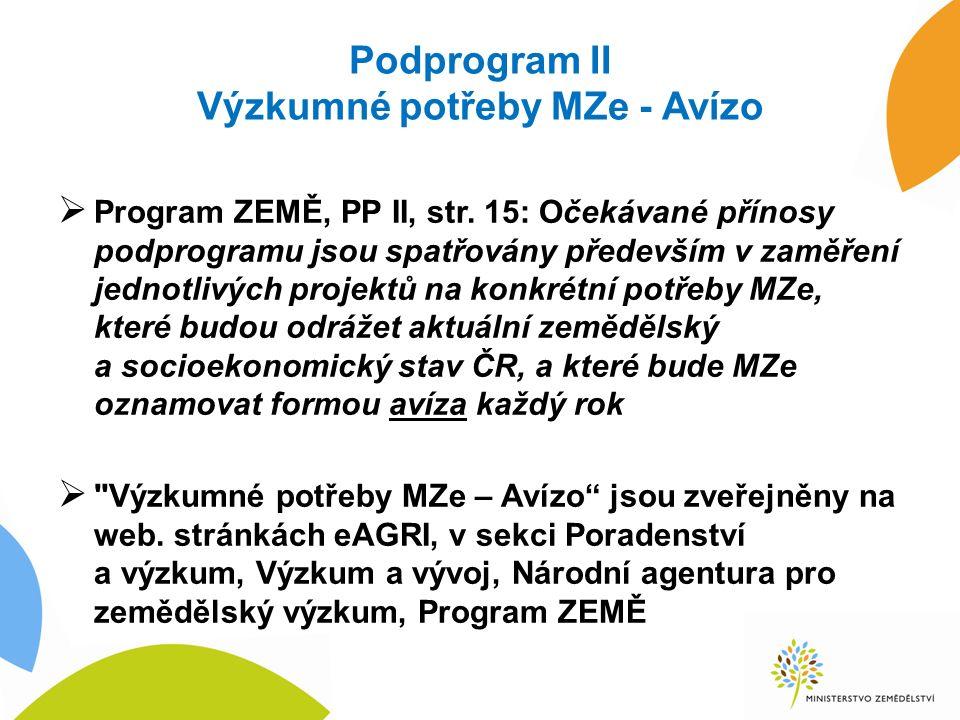 Podprogram II Výzkumné potřeby MZe - Avízo  Program ZEMĚ, PP II, str. 15: Očekávané přínosy podprogramu jsou spatřovány především v zaměření jednotli