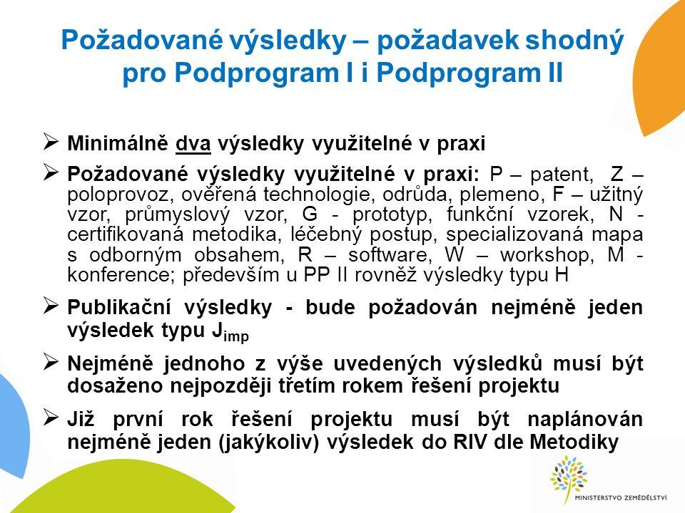 Požadované výsledky – požadavek shodný pro Podprogram I i Podprogram II  Minimálně dva výsledky využitelné v praxi  Požadované výsledky využitelné v