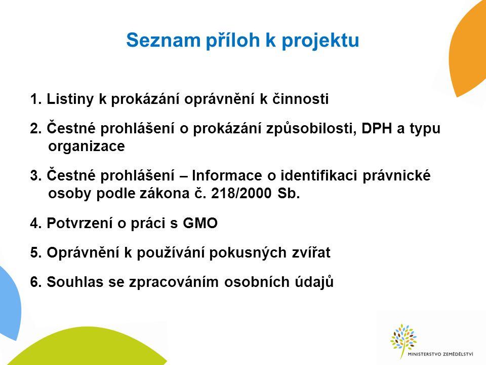 Seznam příloh k projektu 1.Listiny k prokázání oprávnění k činnosti 2.