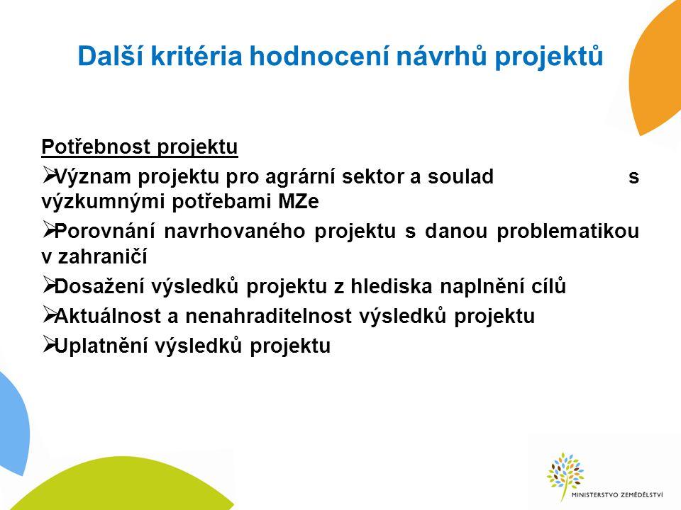 Další kritéria hodnocení návrhů projektů Potřebnost projektu  Význam projektu pro agrární sektor a soulad s výzkumnými potřebami MZe  Porovnání navr
