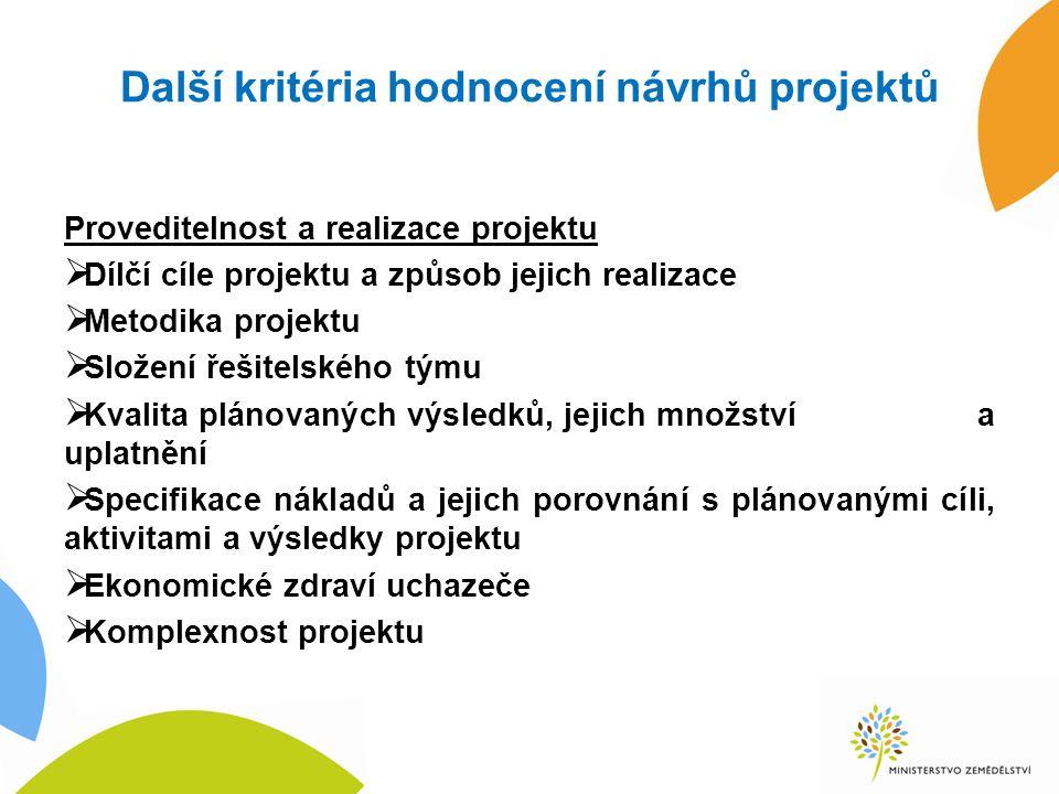 Další kritéria hodnocení návrhů projektů Proveditelnost a realizace projektu  Dílčí cíle projektu a způsob jejich realizace  Metodika projektu  Slo