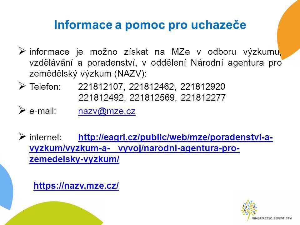 Informace a pomoc pro uchazeče  informace je možno získat na MZe v odboru výzkumu, vzdělávání a poradenství, v oddělení Národní agentura pro zemědělský výzkum (NAZV):  Telefon:221812107, 221812462, 221812920 221812492, 221812569, 221812277  e-mail:nazv@mze.cznazv@mze.cz  internet:http://eagri.cz/public/web/mze/poradenstvi-a- vyzkum/vyzkum-a- vyvoj/narodni-agentura-pro- zemedelsky-vyzkum/http://eagri.cz/public/web/mze/poradenstvi-a- vyzkum/vyzkum-a- vyvoj/narodni-agentura-pro- zemedelsky-vyzkum/ https://nazv.mze.cz/