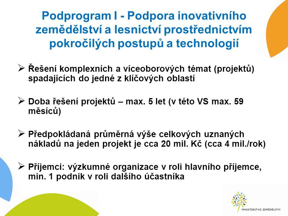 Podprogram I - Podpora inovativního zemědělství a lesnictví prostřednictvím pokročilých postupů a technologií  Řešení komplexních a víceoborových témat (projektů) spadajících do jedné z klíčových oblastí  Doba řešení projektů – max.