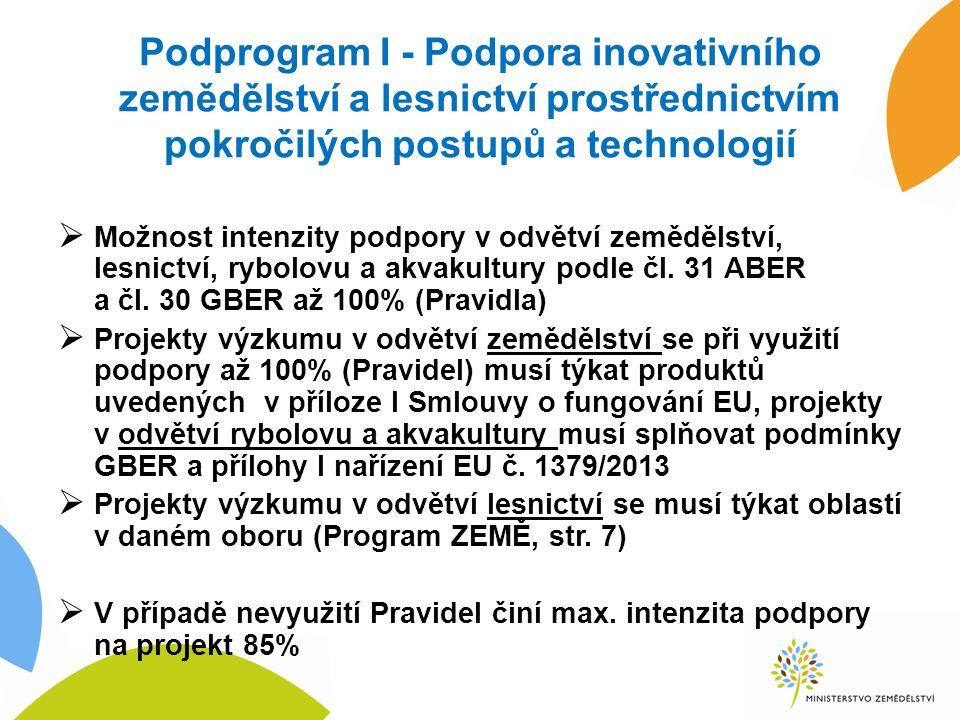 Podprogram I - Podpora inovativního zemědělství a lesnictví prostřednictvím pokročilých postupů a technologií  Možnost intenzity podpory v odvětví zemědělství, lesnictví, rybolovu a akvakultury podle čl.