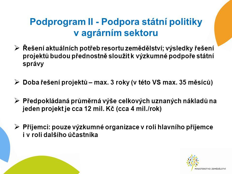 Podprogram II - Podpora státní politiky v agrárním sektoru  Řešení aktuálních potřeb resortu zemědělství; výsledky řešení projektů budou přednostně sloužit k výzkumné podpoře státní správy  Doba řešení projektů – max.