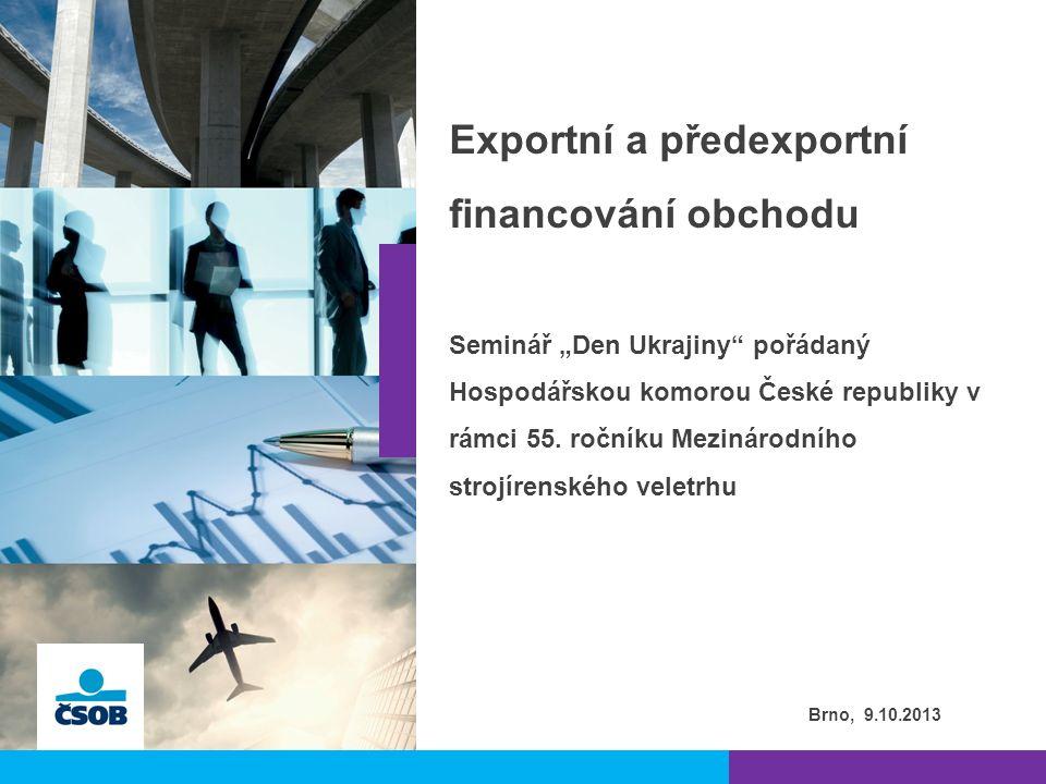  Dlouhodobá přítomnost na trhu exportního financování  Profesionální tým zkušených pracovníků pro financování tuzemského i zahraničního obchodu  Teritoriální znalosti a kontakty  Zkušenosti se složitými strukturovanými modely financování  Součinnost s mateřskou KBC a sesterskými bankami  Přístup ke státní podpoře přes exportní úvěrové agentury (EGAP CR, EXIMBANKA SR, ECAs spolupracující v rámci sítě skupiny KBC)  Významný podíl na trhu exportního financování l 2 | 2