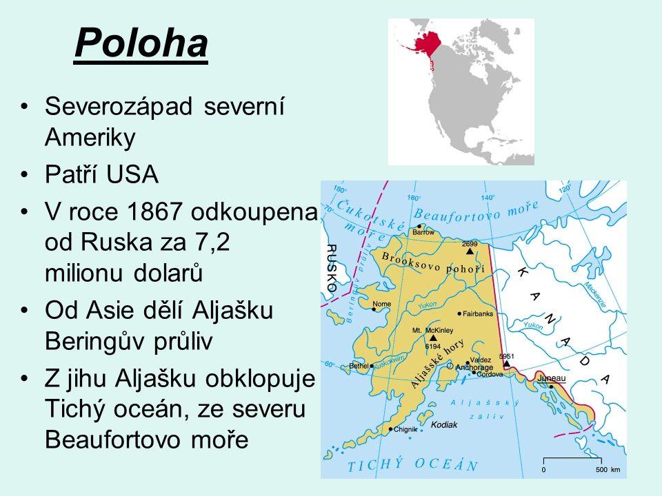 Poloha Severozápad severní Ameriky Patří USA V roce 1867 odkoupena od Ruska za 7,2 milionu dolarů Od Asie dělí Aljašku Beringův průliv Z jihu Aljašku obklopuje Tichý oceán, ze severu Beaufortovo moře