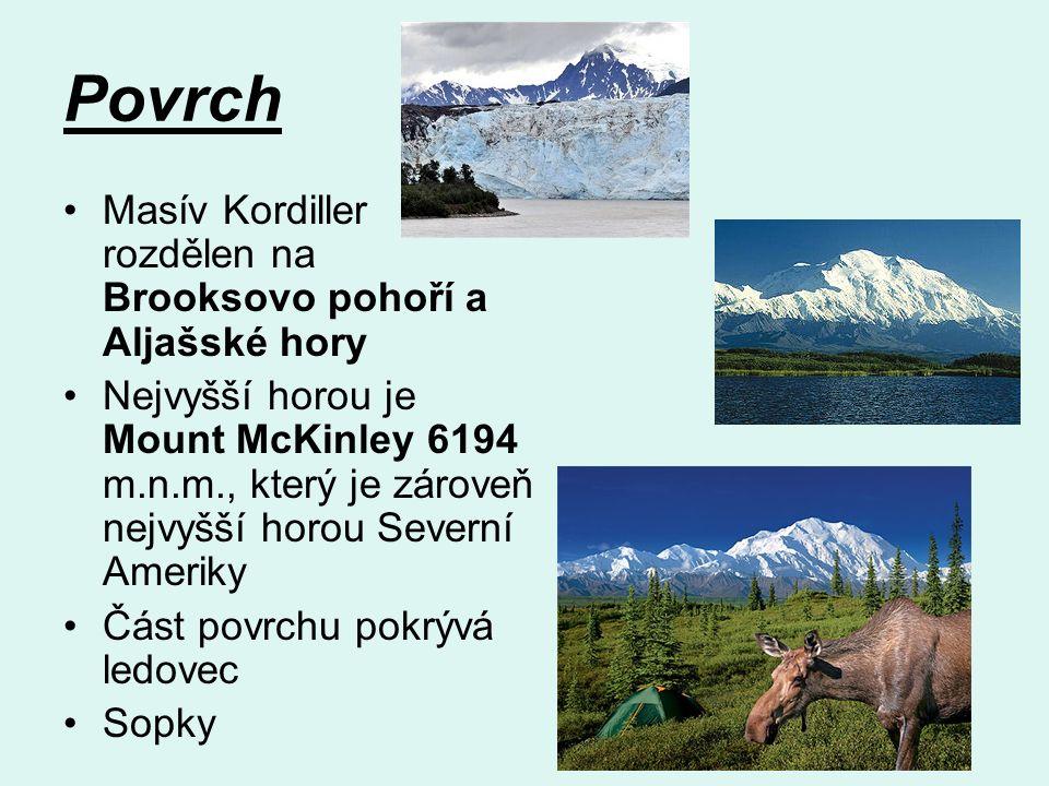 Povrch Masív Kordiller rozdělen na Brooksovo pohoří a Aljašské hory Nejvyšší horou je Mount McKinley 6194 m.n.m., který je zároveň nejvyšší horou Severní Ameriky Část povrchu pokrývá ledovec Sopky