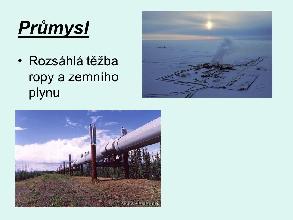Průmysl Rozsáhlá těžba ropy a zemního plynu